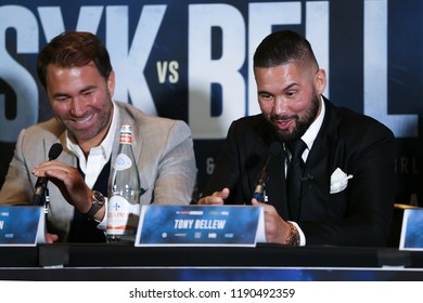 MANCHESTER - SEPTEMBER 24: Eddie Hearn and Tony Bellew laugh during the Usyk v Bellew, Matchroom Boxing press conference on September 24, 2018 in Manchester.