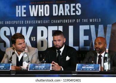 MANCHESTER - SEPTEMBER 24: Eddie Hearn, Tony Bellew and David Coldwell during the Usyk v Bellew, Matchroom Boxing press conference on September 24, 2018 in Manchester.
