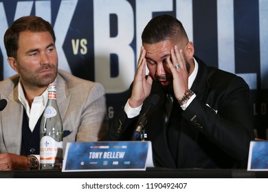 MANCHESTER - SEPTEMBER 24: Eddie Hearn and Tony Bellew during the Usyk v Bellew, Matchroom Boxing press conference on September 24, 2018 in Manchester.