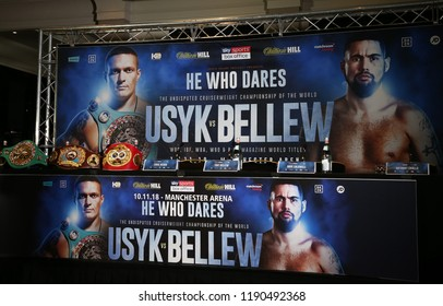 MANCHESTER - SEPTEMBER 24: A general view of the stage for the Usyk v Bellew, Matchroom Boxing press conference on September 24, 2018 in Manchester.