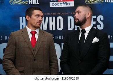 MANCHESTER - SEPTEMBER 24: Oleksandr Usyk and Tony Bellew face off during the Usyk v Bellew, Matchroom Boxing press conference on September 24, 2018 in Manchester.