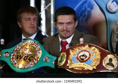 MANCHESTER - SEPTEMBER 24: Oleksandr Usyk during the Usyk v Bellew, Matchroom Boxing press conference on September 24, 2018 in Manchester.
