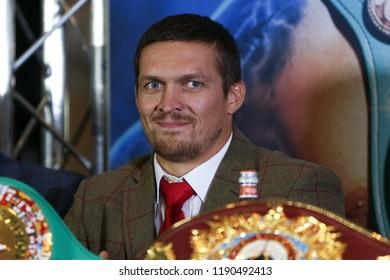 MANCHESTER - SEPTEMBER 24: Oleksandr Usyk smiles during the Usyk v Bellew, Matchroom Boxing press conference on September 24, 2018 in Manchester.