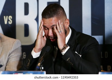 MANCHESTER - SEPTEMBER 24: Tony Bellew puts his head in his hands during the Usyk v Bellew, Matchroom Boxing press conference on September 24, 2018 in Manchester.