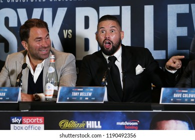 MANCHESTER - SEPTEMBER 24: Usyk and Tony Bellew face off during the Usyk v Bellew, Matchroom Boxing press conference on September 24, 2018 in Manchester.