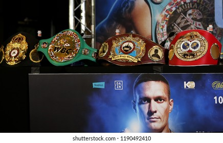 MANCHESTER - SEPTEMBER 24: The WBA, WBC, WBO and IBF World Cruiserweight titles held by Oleksandr Usyk during the Usyk v Bellew, Matchroom Boxing press conference on September 24, 2018 in Manchester.
