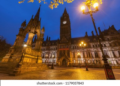 Manchester Town Hall at night. Manchester, North West England, United Kingdom.