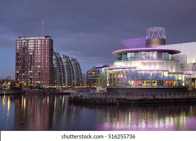 Manchester, UK - 10 November 2016: The Lowry and apartments in Salford Quays, at dusk
