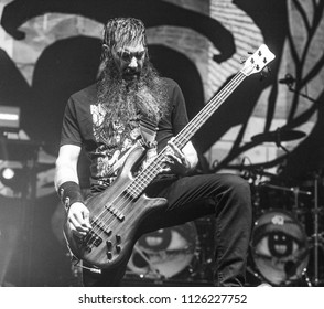 manchester, UK, 17 June 2018. Johny Chow, Bass Guitar/backing vocals of American rock band, Stone Sour, performs live at O2 Apollo at the start of the UK leg of their world tour. Credit: Tracy Daniel