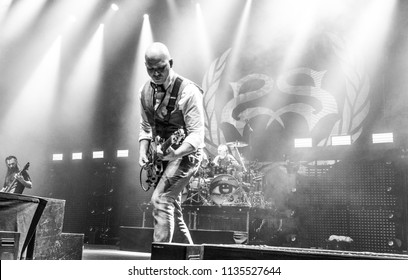 manchester, UK, 17 June 2018. Johny Chow, Josh Rand and Roy Mayorga of American rock band, Stone Sour, performs live at O2 Apollo. Credit : Tracy Daniel