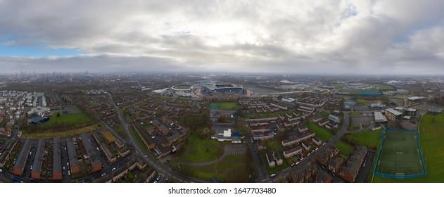 MANCHESTER, UK - 2020: Aerial panoramic view of Manchester City FC Etihad Stadium