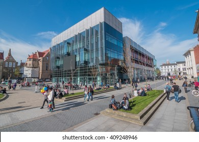 MANCHESTER, UK - 21 APRIL : The Alan Gilbert Learning Commons of University of Manchester is a state of the art study and learning centre in the heart of the Oxford Road campus.