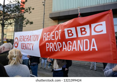 Manchester, UK - 23 Feb 2019. Tommy Robinsons Panodrama protest outside BBC HQ