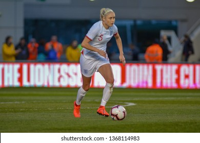 Manchester, UK - 5 April 2019: England's captain Steph Houghton running with the ball at her feet in the friendly against Canada