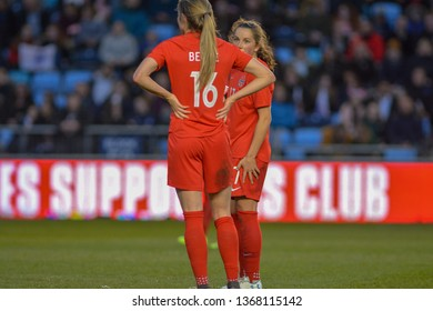 Manchester, UK - 5 April 2019: Canada's Janine Beckie (near) discusses the free kick with Jessie Fleming