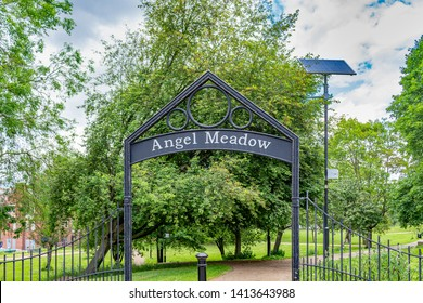 Manchester, UK: Angel Meadow, in Victorian times a dense slum area described by Friedrich Engels as Hell upon Earth. St Michael's Church was once here, and 40,000 paupers are said to be buried here.