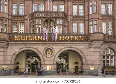 MANCHESTER, UK - APR 18, 2017: facade of old Midland Hotel. Midland Hotel was the best place for luxury tourist in the last century in Manchester.
