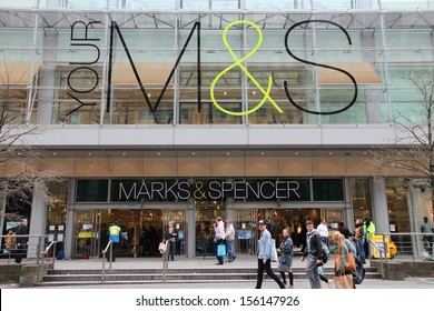 MANCHESTER, UK - APRIL 22: People visit Marks & Spencer on April 22, 2013 in Manchester, UK. M&S is a major retailer with 1,010 stores in 41 countries. It specializes in fashion and luxury goods.