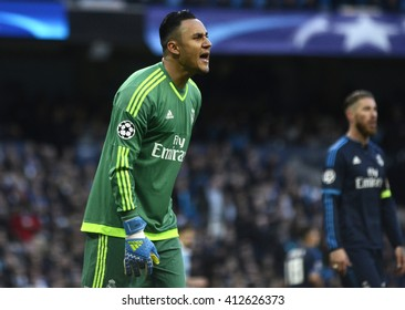 MANCHESTER, UK - APRIL 26, 2016: Keylor Navas of Real pictured during UEFA Champions League semi-final game between Manchester City and Real Madrid at Etihad stadium.