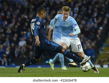 MANCHESTER, UK - APRIL 26, 2016: Kevin De Bruyne pictured during UEFA Champions League semi-final game between Manchester City and Real Madrid at Etihad stadium.