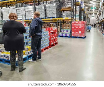 MANCHESTER, UK - APRIL 7, 2018: Interior of Costco Wholesale store in Manchester, Chadderton, UK. Costco operates a chain of membership warehouses, carrying merchandise at lower prices.