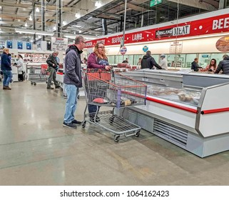 MANCHESTER, UK - APRIL 7, 2018: Goods for sale in a Costco Wholesale store in Failsworth, Manchester. Costco operates a chain of membership warehouses, carrying merchandise at lower prices.