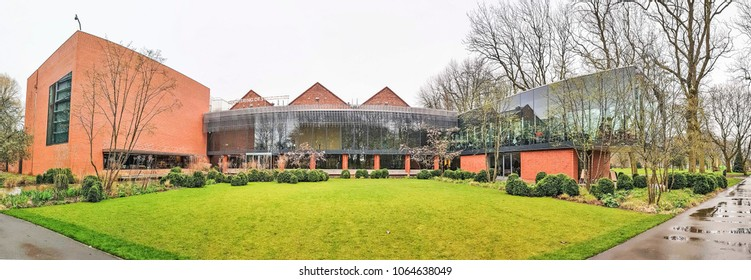 MANCHESTER, UK - APRIL 8, 2018: The extension of the Whitworth Art Gallery, finished in 2015 and which opened itself up to its surrounding park.