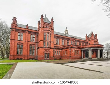 MANCHESTER, UK - APRIL 8, 2018: The entrance to the Whitworth Art Gallery. The gallery is located in Whitworth Park and is part of the University of Manchester.