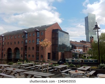 Manchester / UK - August 1 2015: Warehouse conversion and Beetham Tower in Manchester