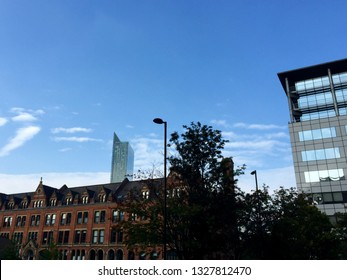 Manchester / UK - August 10 2016: City views toward Beetham Tower in blue sky