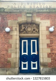 Manchester / UK - August 10 2016: Old police station doorway
