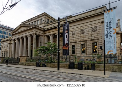 MANCHESTER, UK - AUGUST 10, 2018: Manchester Art Gallery free to the public art museum on Mosley street with a collection of more than 25,000 objects.