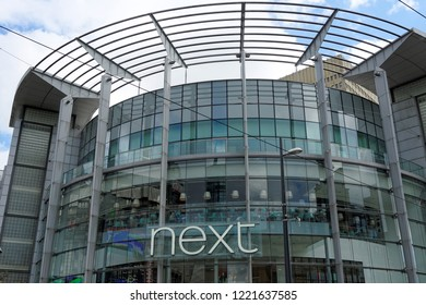 MANCHESTER, UK - AUGUST 10, 2018: Next, a British multinational clothing, footwear and home products retailer at The Manchester Arndale shopping centre in Manchester city center.