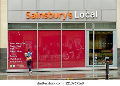 MANCHESTER, UK - AUGUST 10,2018: Sainsbury's Local store in Manchester city center. Sainsbury's is the second largest chain of supermarkets in UK with a share of the UK supermarket sector of 16.9%.