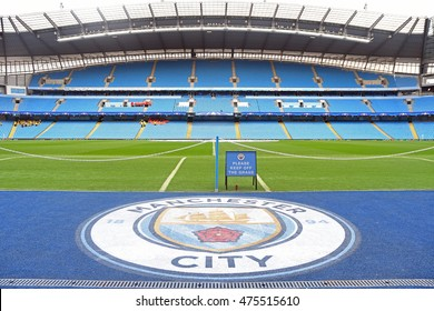 MANCHESTER, UK - AUGUST 24, 2016: General view of City's stadium with the new crest prior to the UEFA Champions League play-off game between Manchester City and Steaua Bucharest at Etihad stadium.