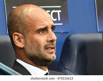 MANCHESTER, UK - AUGUST 24, 2016: Josep Guardiola pictured prior to the UEFA Champions League play-off game between Manchester City and Steaua Bucharest at Etihad stadium.