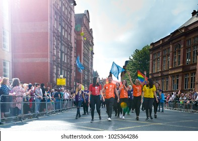 Manchester, UK - AUGUST 26, 2017: LGBT pride on Manchester street, on august 26, 2017