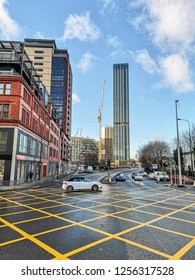 MANCHESTER, UK - DECEMBER 10, 2018:  High rise, Hunts Hill, Manchester. Greater Manchester is the 3rd most populous urban area in the UK (2.2 million people).