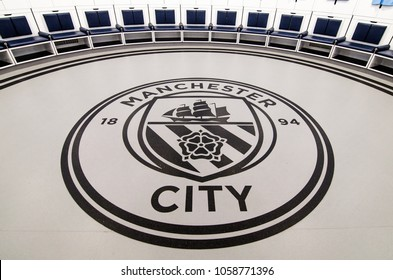 MANCHESTER, UK - DECEMBER 7, 2017: Manchester City's Logo in dressing room of Etihad stadium, Home of Manchester City