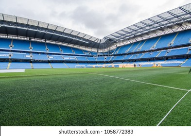 MANCHESTER, UK - DECEMBER 7, 2017: View of Etihad stadium, Home of Manchester City