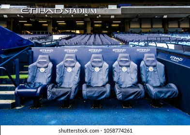 MANCHESTER, UK - DECEMBER 7, 2017: Bench in Etihad stadium, Home of Manchester City