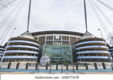 MANCHESTER, UK - DECEMBER 7, 2017: View in front of Etihad stadium, Home of Manchester City