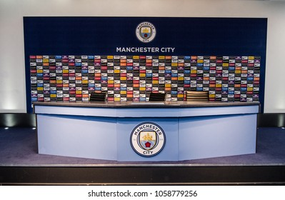 MANCHESTER, UK - DECEMBER 7, 2017: Press conference room of Etihad stadium, Home of Manchester City