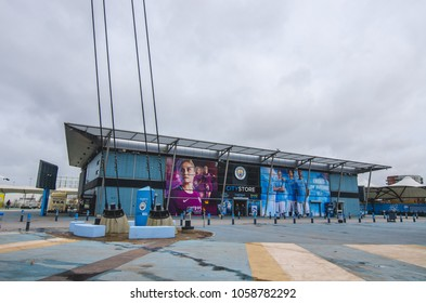 MANCHESTER, UK - DECEMBER 7, 2017: Official store in front of Etihad stadium, Home of Manchester City