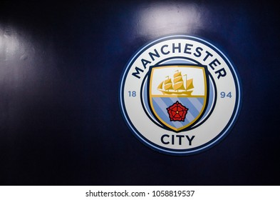 MANCHESTER, UK - DECEMBER 7, 2017: Manchester City's logo at Etihad stadium, Home of Manchester City