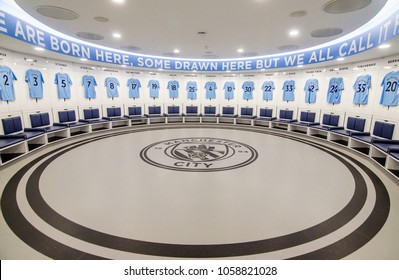 MANCHESTER, UK - DECEMBER 7, 2017: Dressing room at Etihad stadium, Home of Manchester City