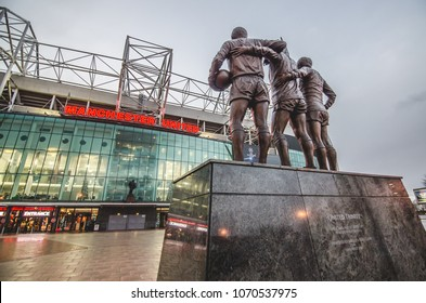 Manchester, UK - December 7, 2017: Old Trafford is a football stadium in Old Trafford, Greater Manchester, England, and the home of Manchester United.