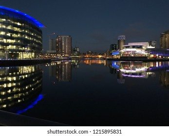 Manchester, UK, Evening 4th July 2018, Salford Quays and Manchester ship canal in the vicinity of the BBC studios and the Lowry theatre.