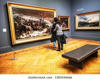 MANCHESTER, UK - FEBRUARY, 1, 2019: The interior of the famous Manchester art gallery during visiting hours