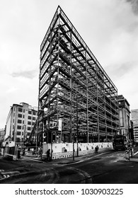 MANCHESTER, UK - FEBRUARY 21 2018: Structural steel skeleton for a new apartment block on Church Street, Manchester. It is hoped it will help with the continued regeneration of the Northern Quarter